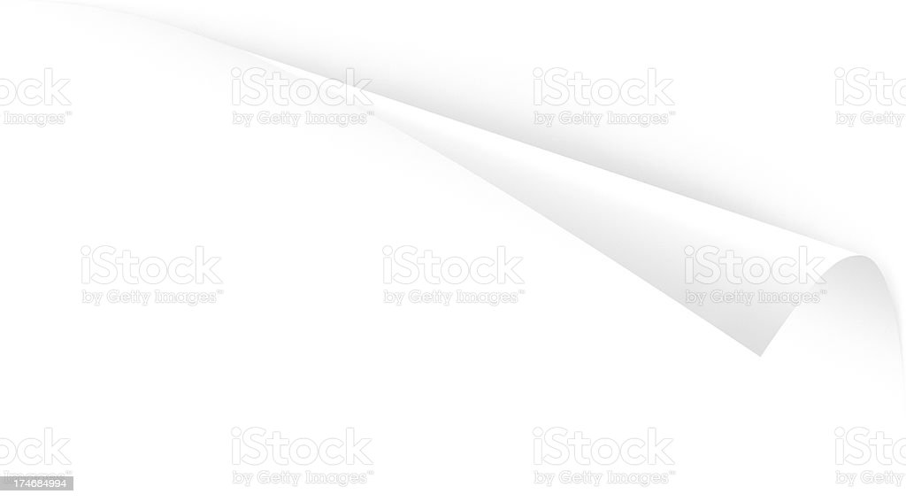 Angled Top Paper Page Corner Peel; Three Clipping Paths stock photo