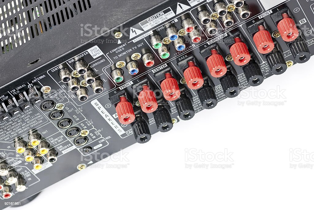 Angled view of AV Receiver from behind stock photo