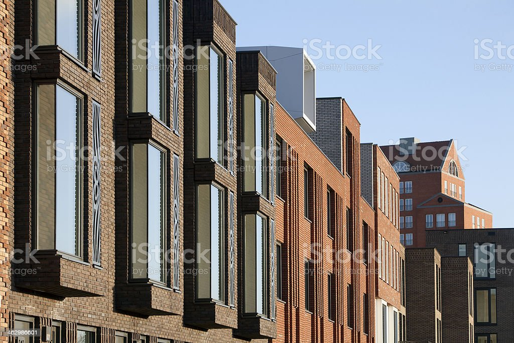 Angled view of buildings in residential district stock photo
