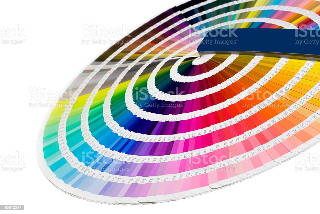 Angled view of paint strips arranged in a color wheel  stock photo
