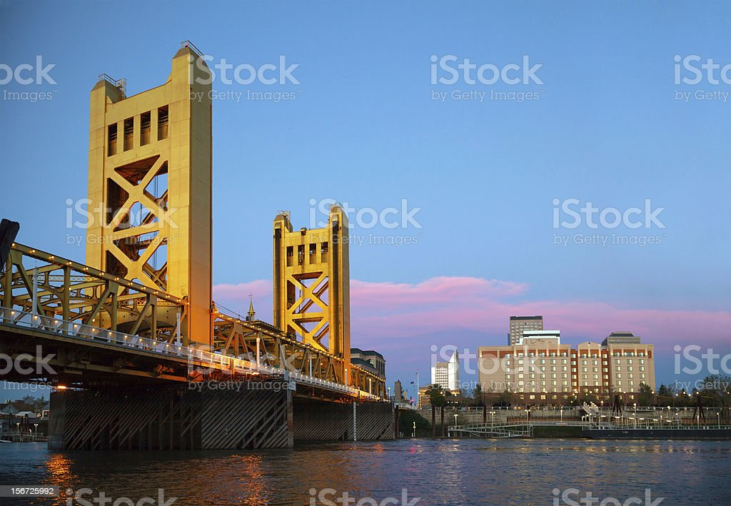 Angled view of the Golden Gates Drawbridge in Sacramento stock photo