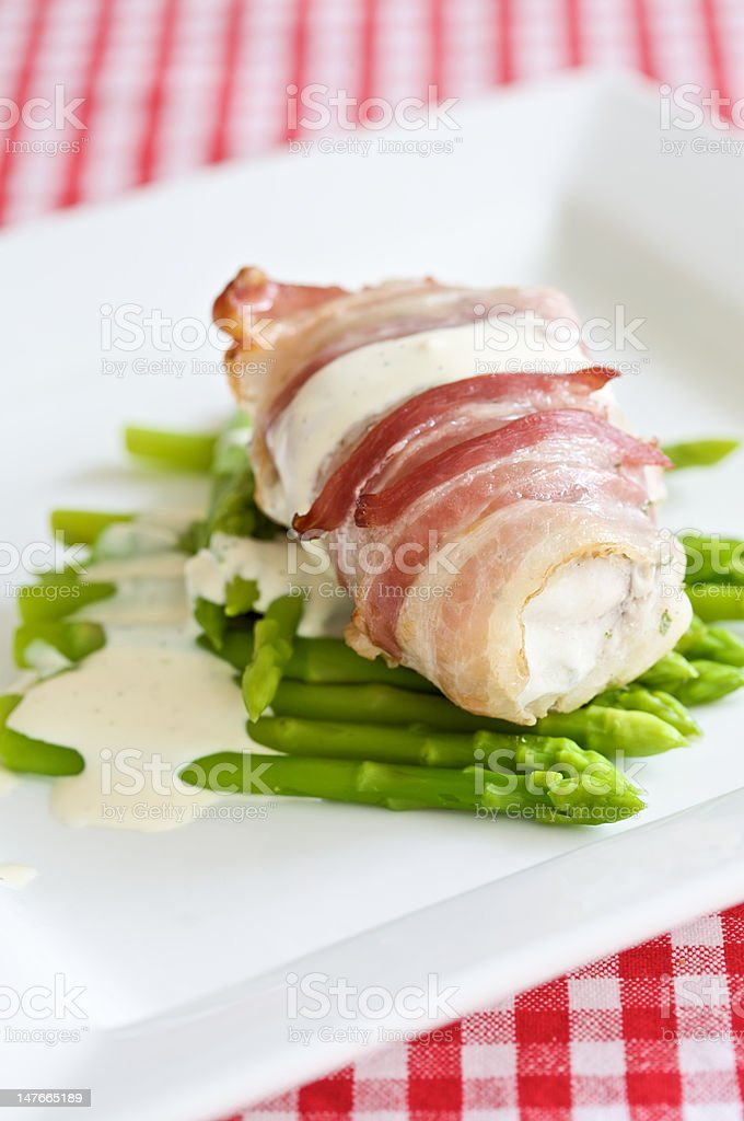 Angler fish with pancetta royalty-free stock photo
