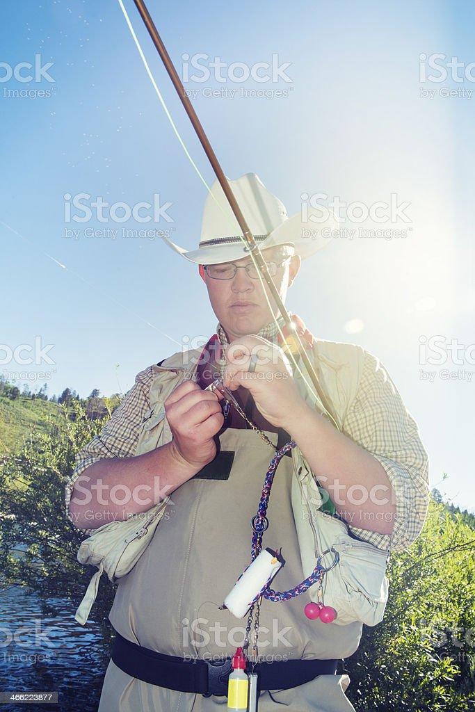 Angler Fly Fishing in Montana stock photo
