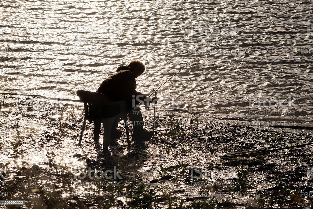 Angler on River Thames, London stock photo