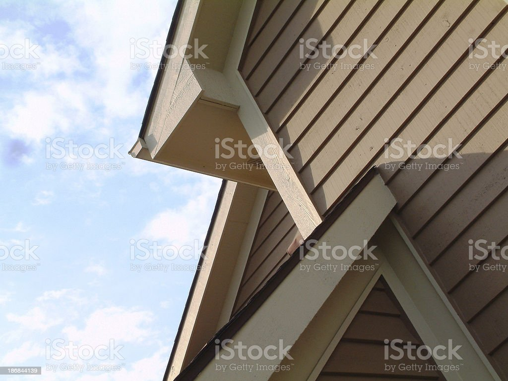 Angles, Lines, Shadows, Sky, Roof Siding House royalty-free stock photo