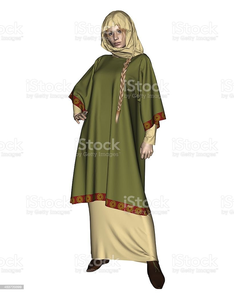 Anglo-Saxon or Viking Woman with Head Cloth stock photo