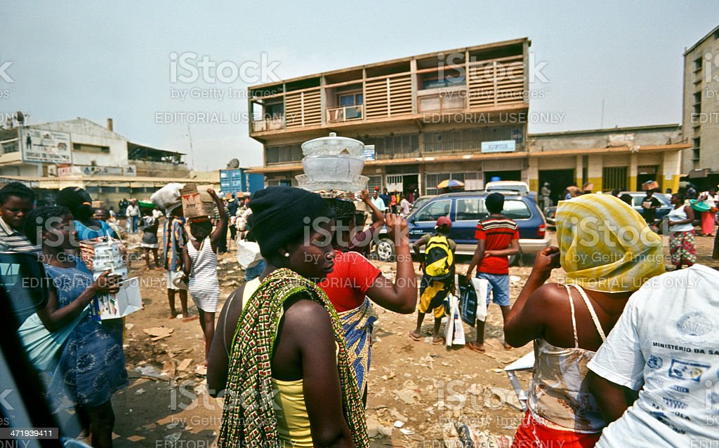 Angola, Luanda, crowds in the suburbs. stock photo
