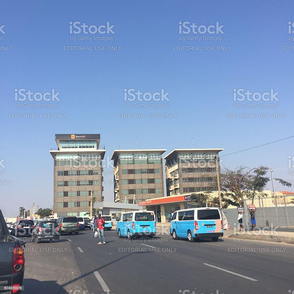 Angola minibus taxis in Luanda stock photo