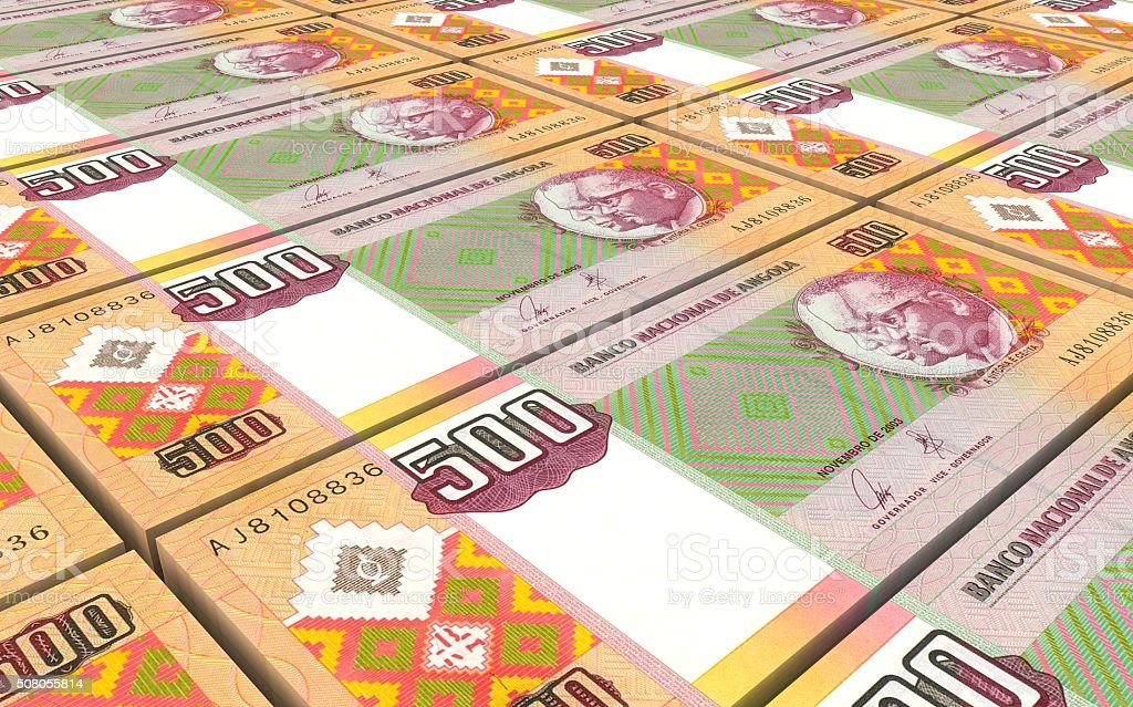 Angolan kwanza bills stacked background. stock photo