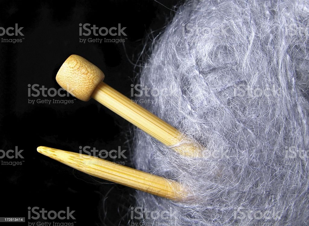 Angora Yarn and Needles stock photo