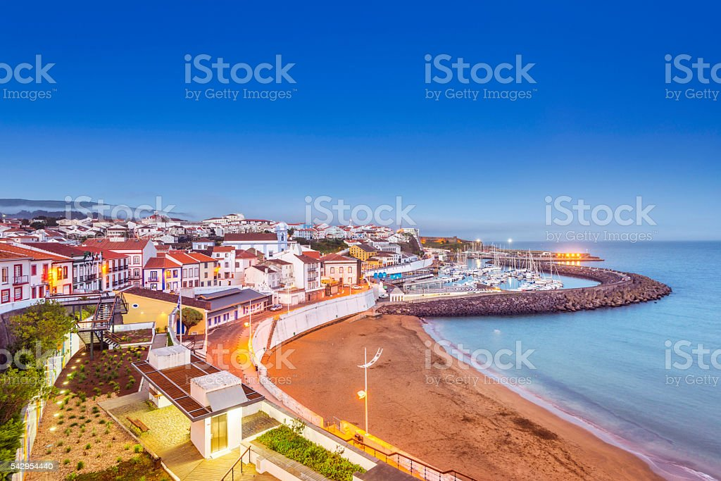 Angra do Heroismo waterfront at dusk, Terceira (Azores) stock photo