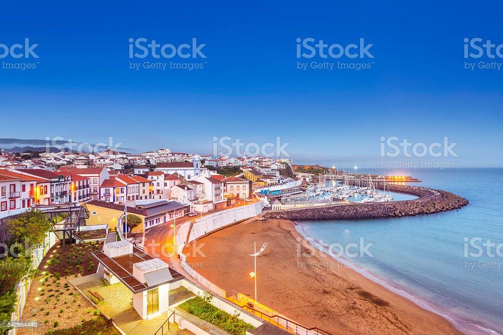 Angra do Heroismo waterfront at dusk, Terceira (Azores) stock photo