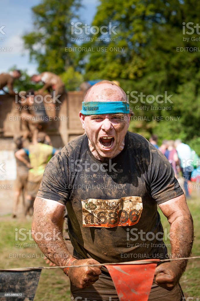 Angry adreneline pumped man shouting and screaming stock photo