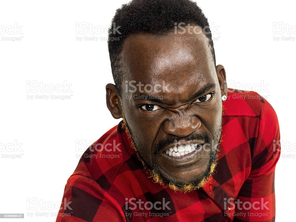 Angry african man portrait stock photo