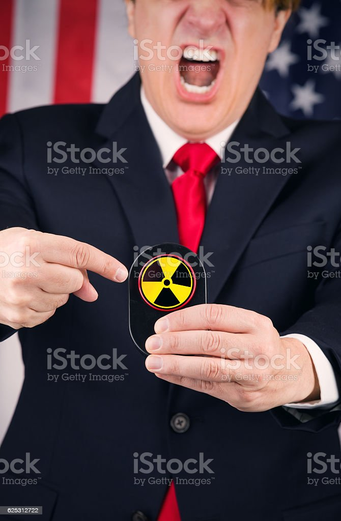 Angry American Leader About To Push The Button stock photo