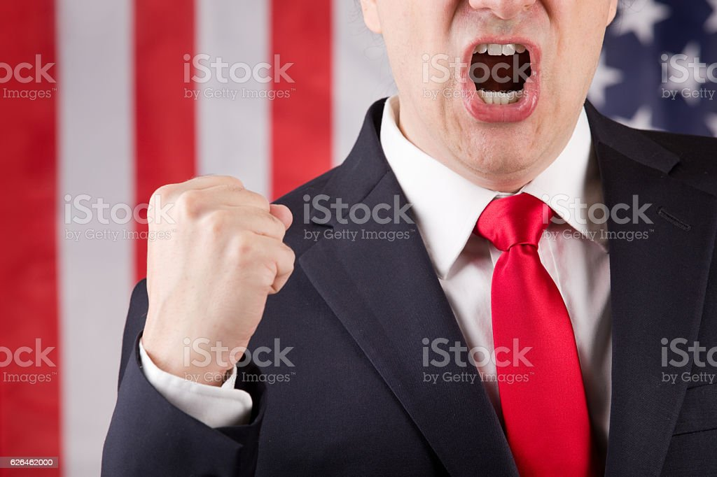 Angry American Leader stock photo