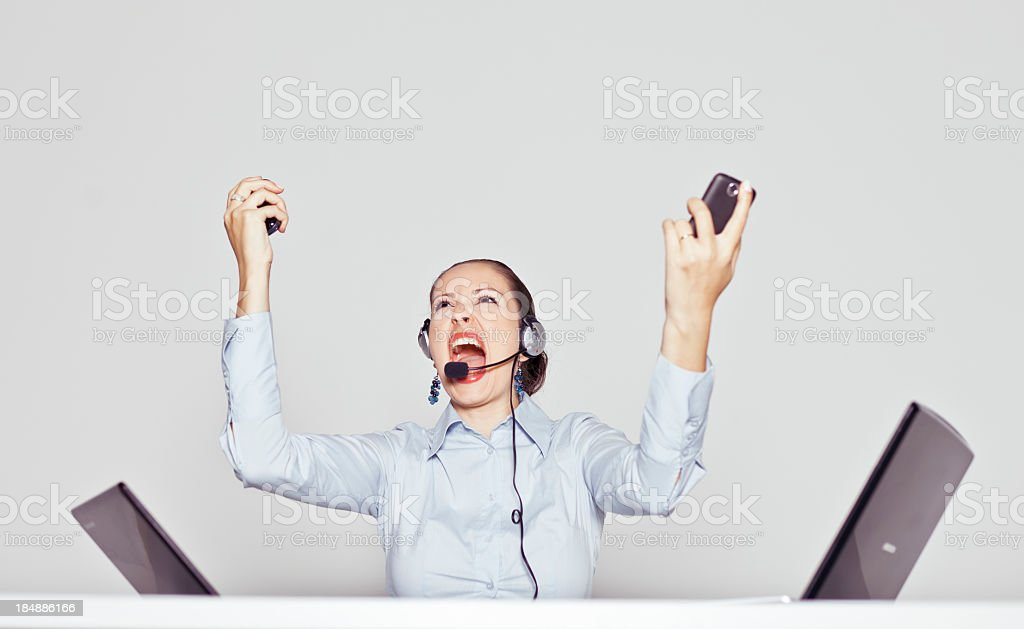 Angry and frustrated businesswoman royalty-free stock photo