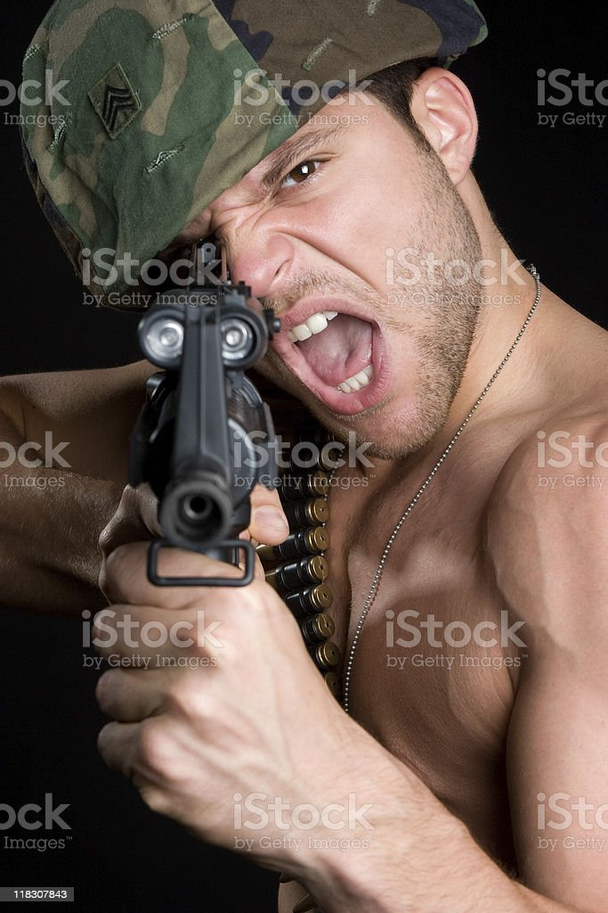 Angry Army Man royalty-free stock photo