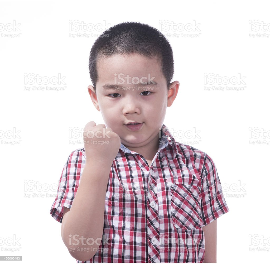 Angry asian boy, 6 years old stock photo
