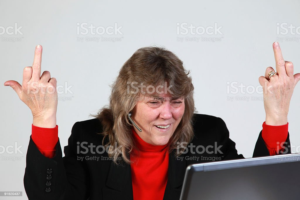 Angry at work stock photo