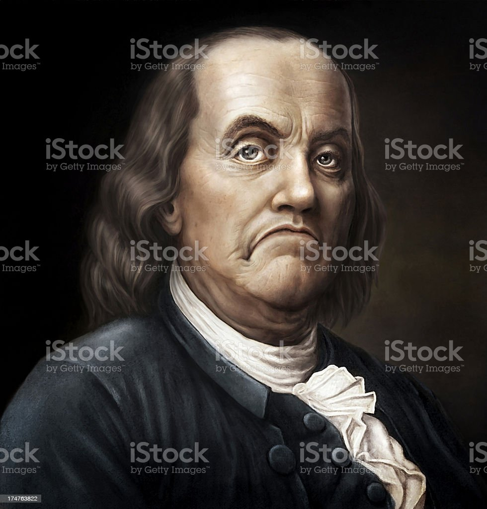 Angry Ben Franklin stock photo