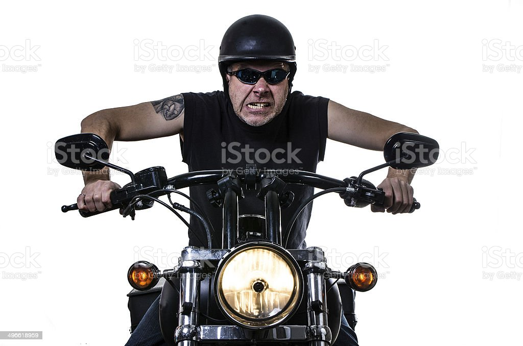 Angry biker stock photo