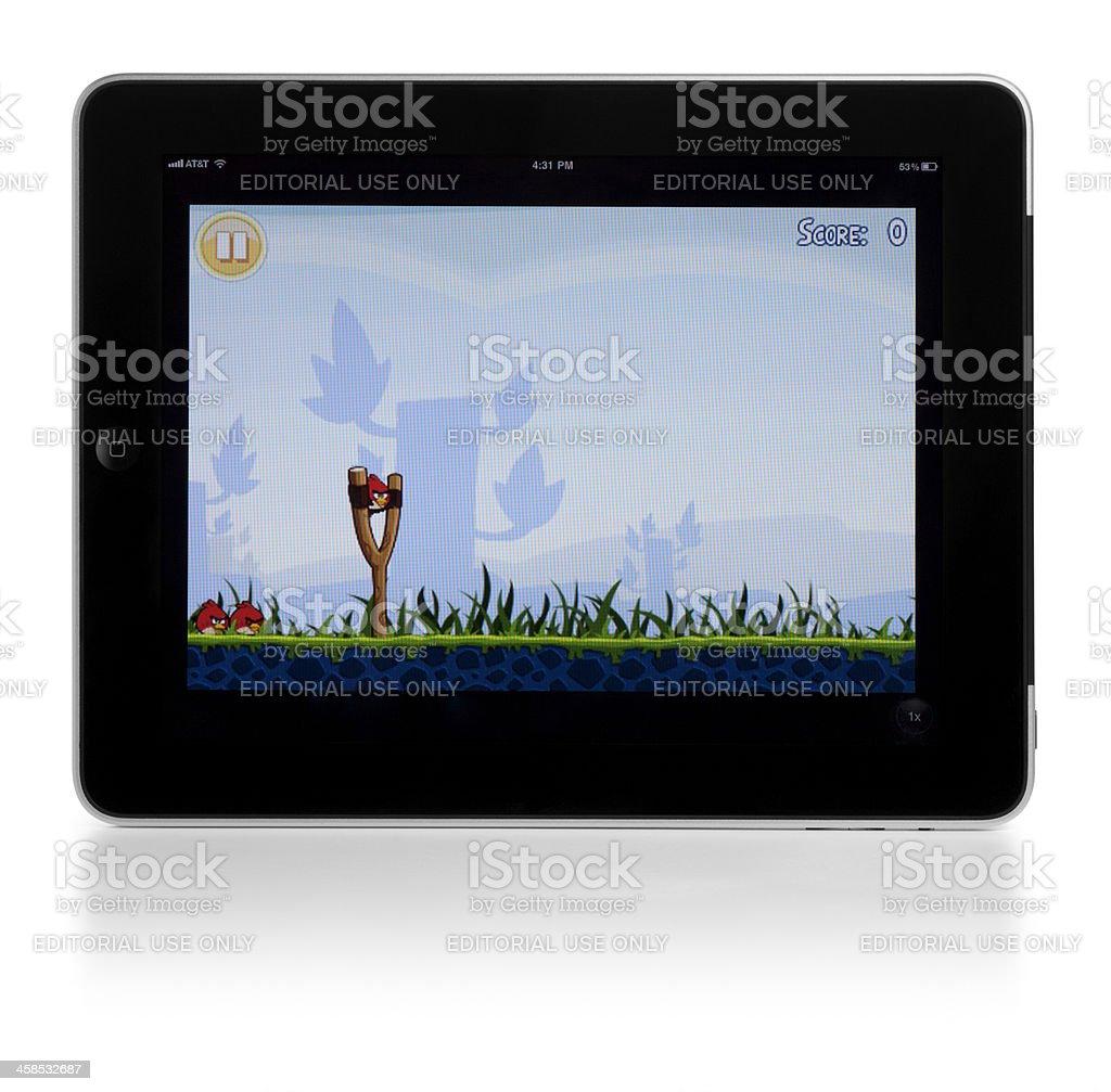 Angry Birds App on iPad royalty-free stock photo