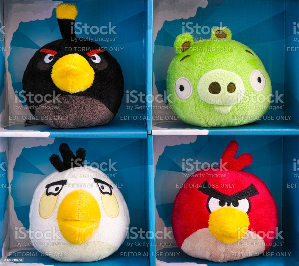 Angry Birds collectible plush 4 pack stock photo