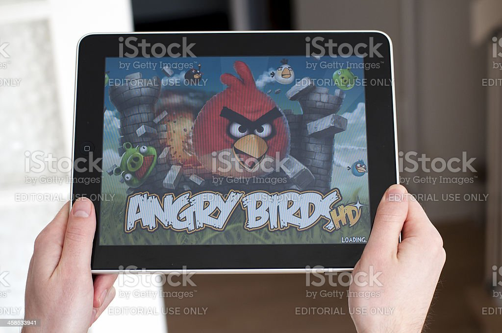 Angry Birds on Apple iPad royalty-free stock photo