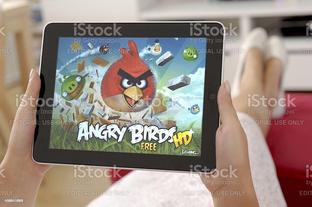 Angry Birds on Apple iPad royalty-free stock photo