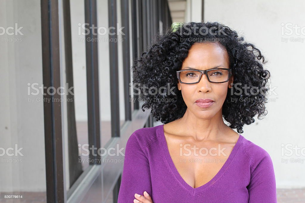 Angry black woman portrait isolated stock photo