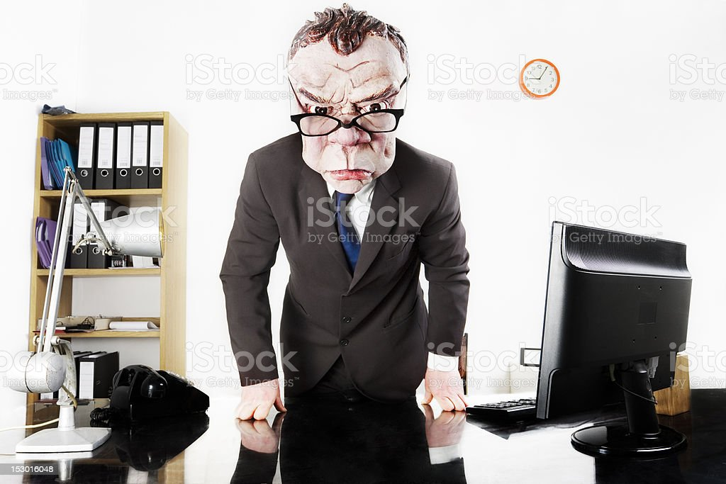 Angry Boss in Office royalty-free stock photo