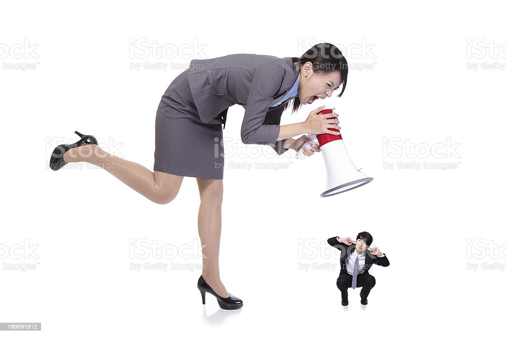 angry boss with megaphone yelling to Staff royalty-free stock photo