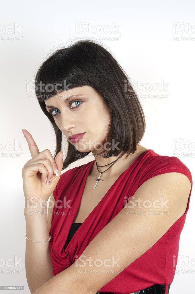 Angry Bossy Woman Wagging Her Finger royalty-free stock photo