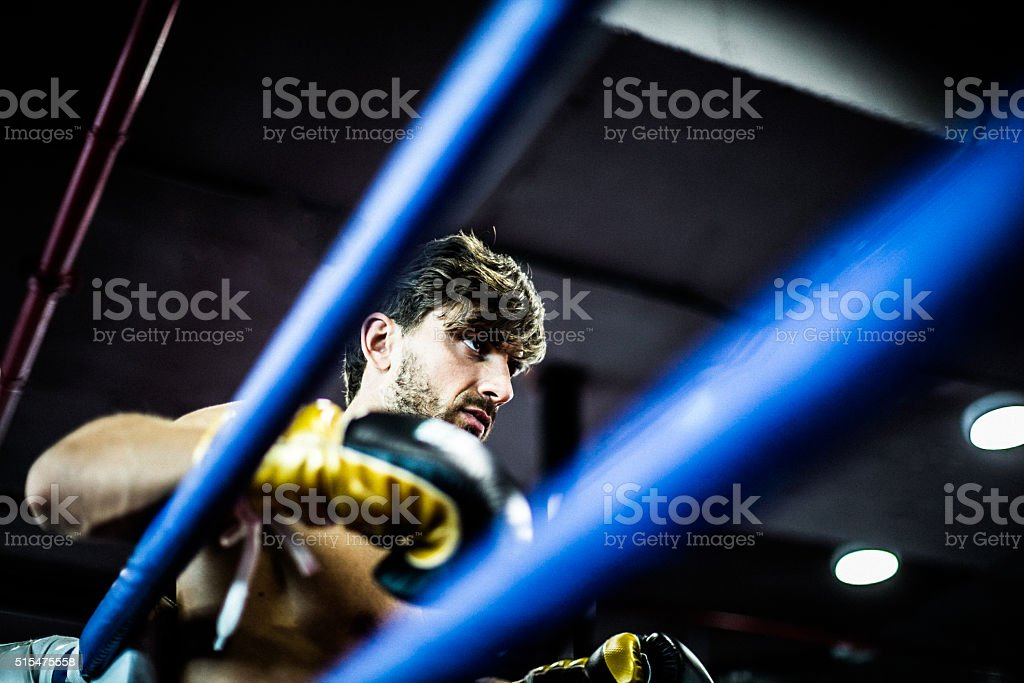 Angry Boxer in a Boxing Ring stock photo