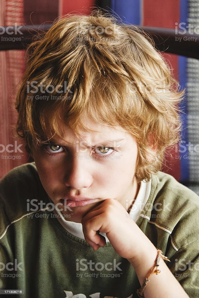 Angry boy stock photo