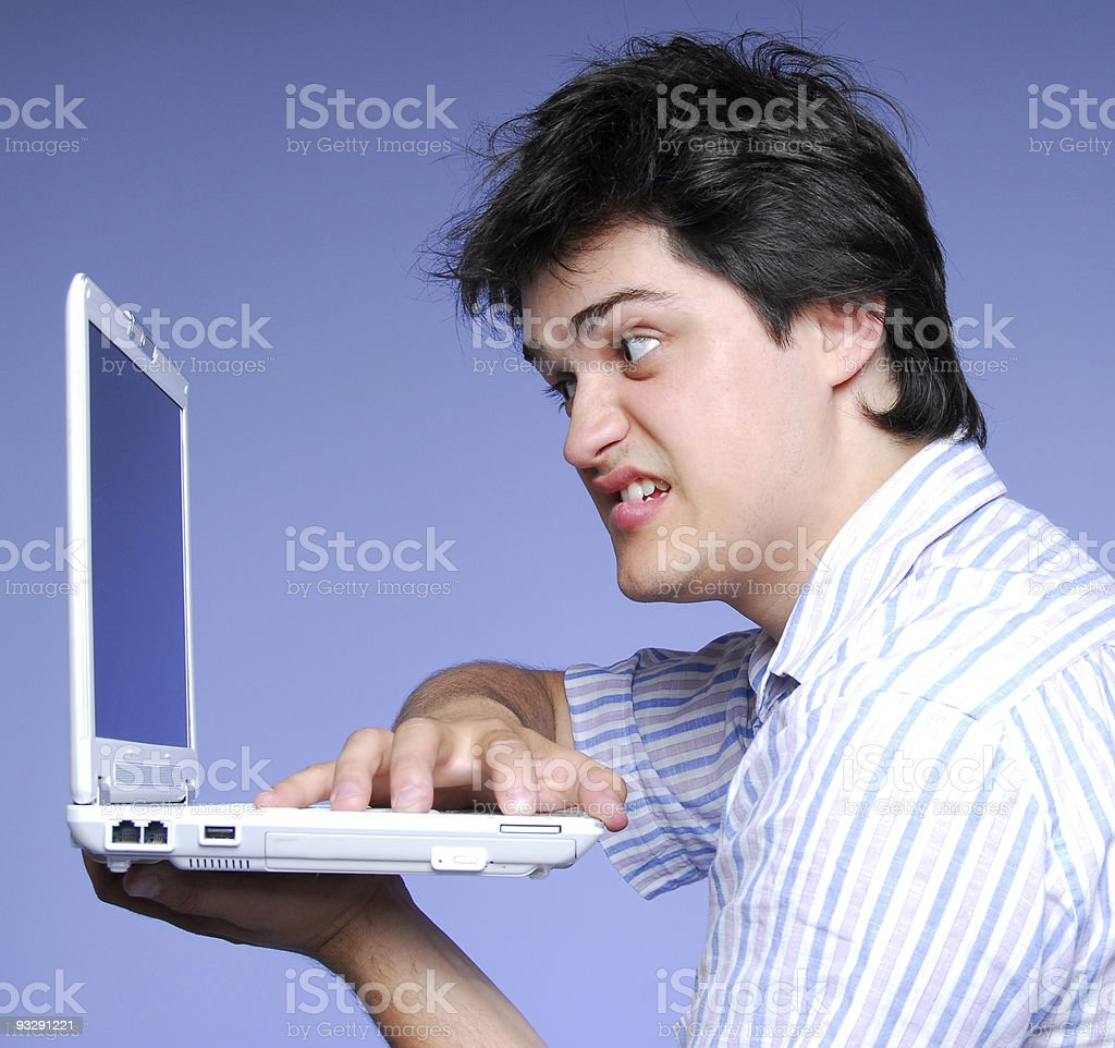 Angry boy with notebook royalty-free stock photo