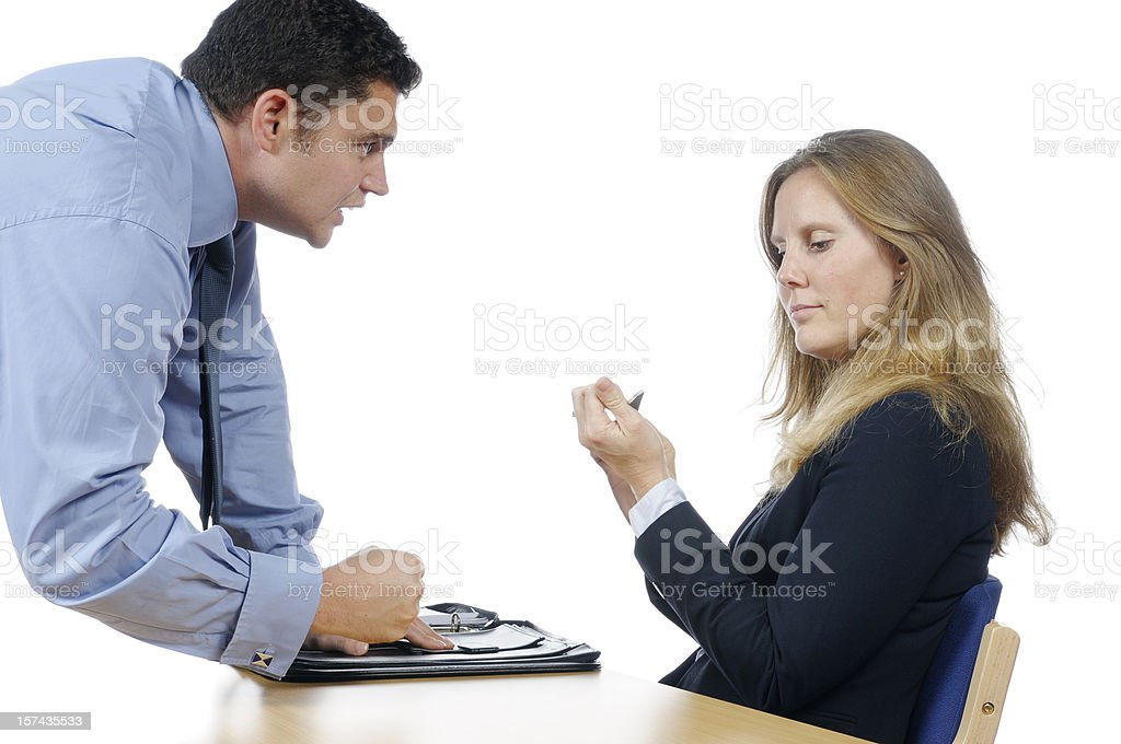 Angry Business Man Relaxed Female Coworker stock photo
