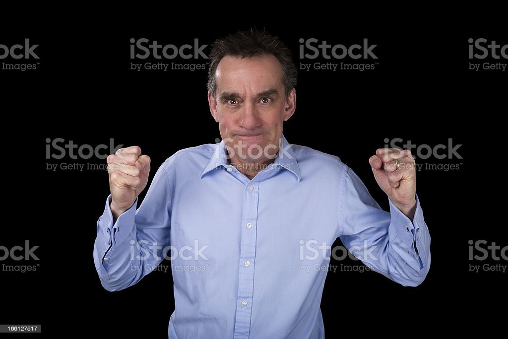 Angry Business Man Shaking Fists in Frustration royalty-free stock photo