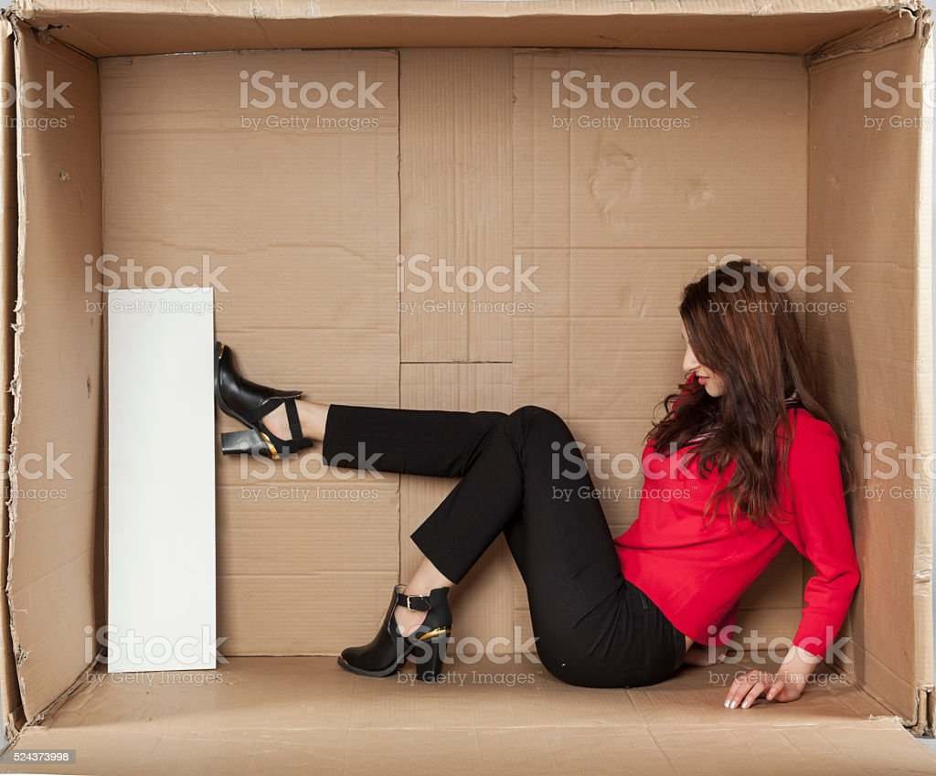 angry business woman destroys the copy space stock photo
