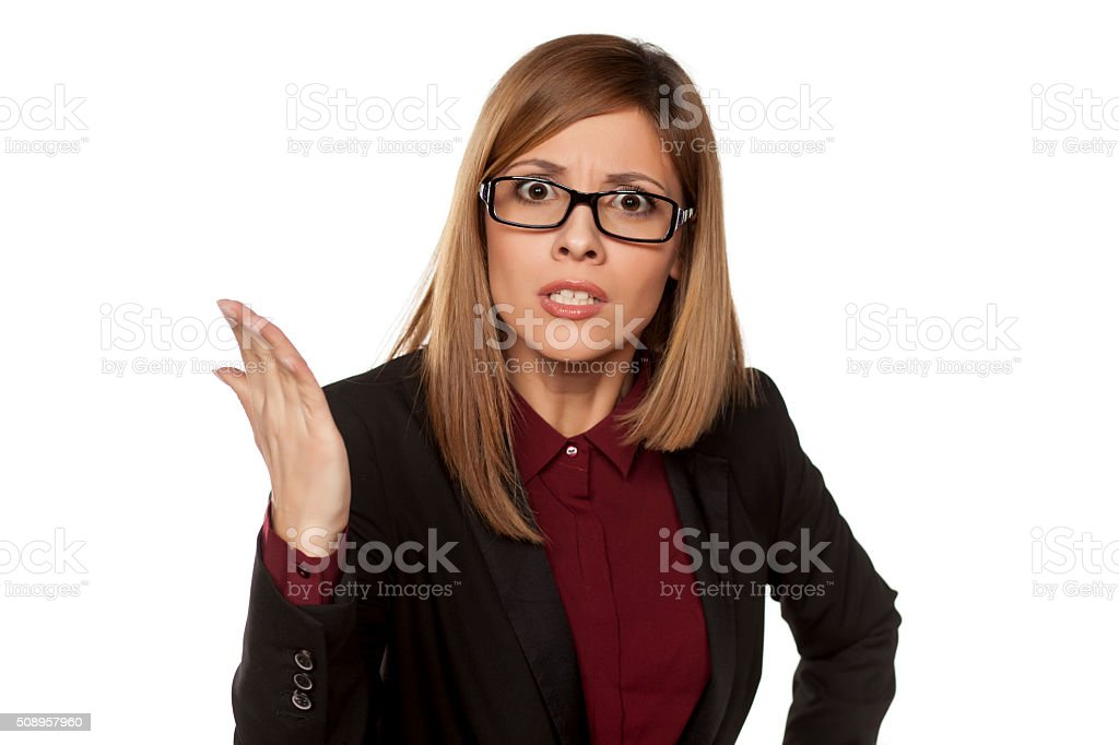 angry business woman stock photo
