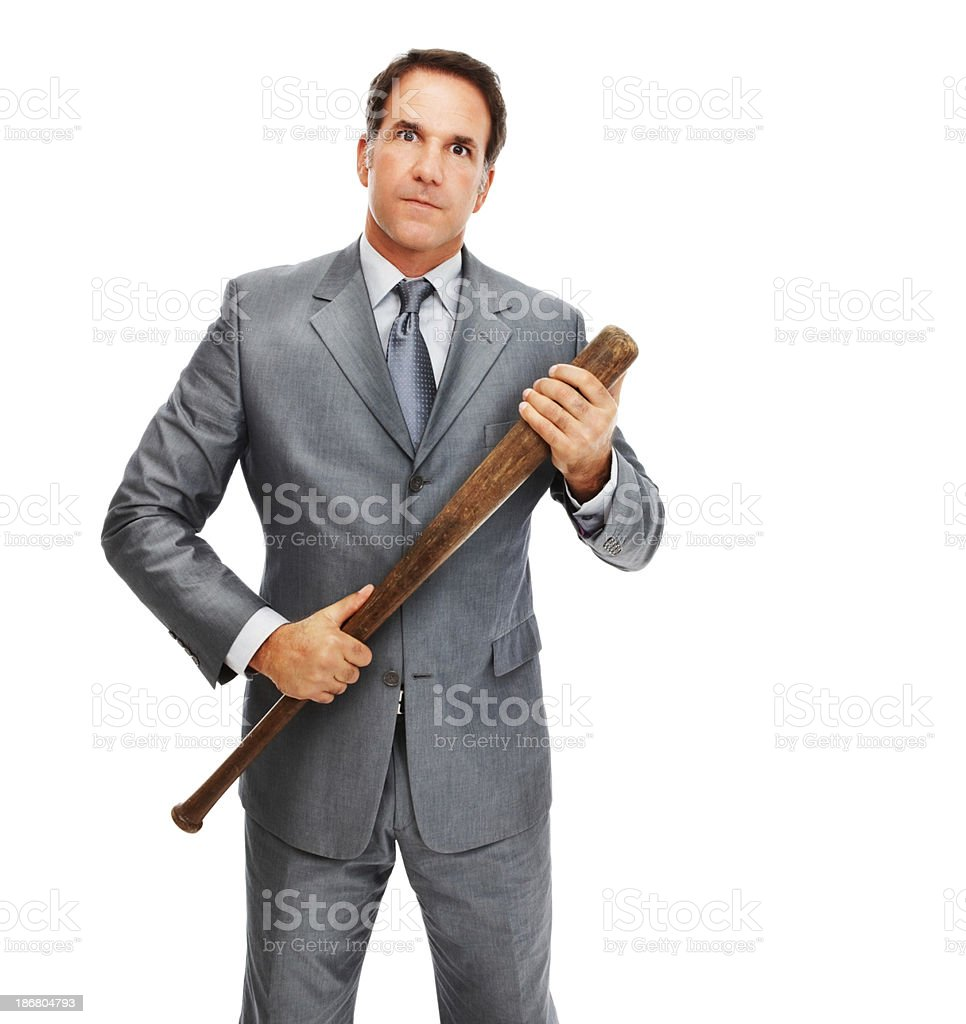 Angry businessman holding a baseball bat stock photo