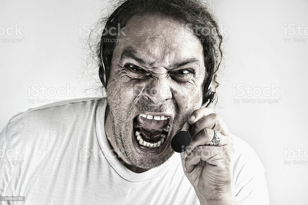 Angry Call Centre Person stock photo
