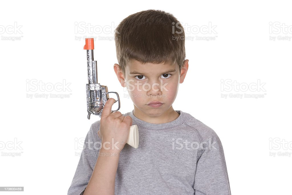Angry Child with Toy Gun stock photo