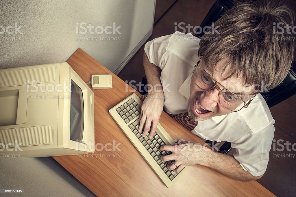 Angry Computer Tech Nerd stock photo