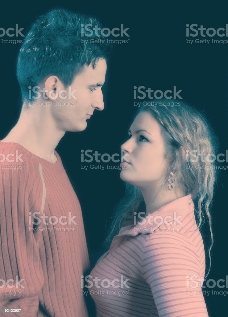 Angry crossprocessed couple stock photo