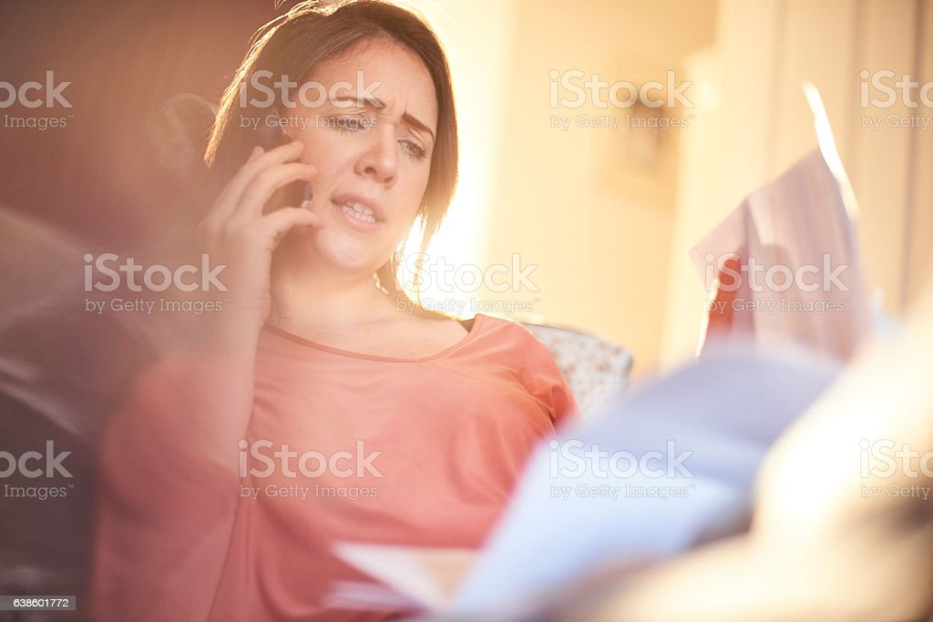 angry customer on the phone stock photo