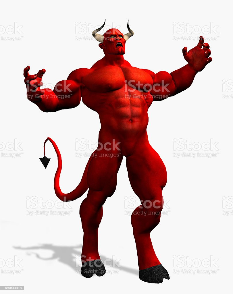 Angry Devil - with clipping path royalty-free stock photo