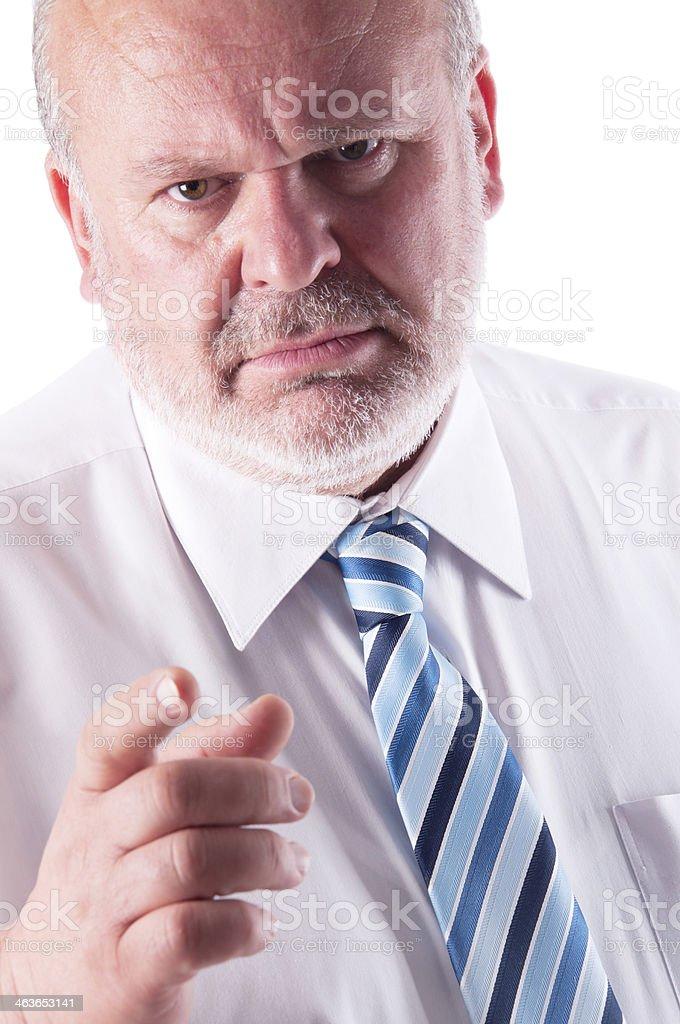 Angry Elderly Businessman stock photo