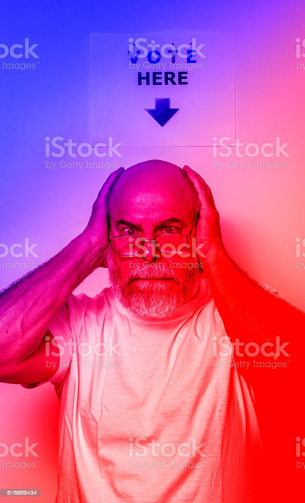 Angry Exhausted Frustrated USA Independent Voter Senior Man stock photo